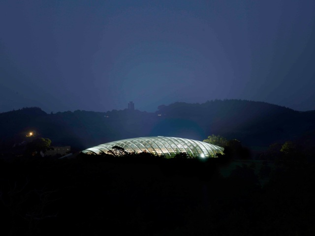 The Great Glasshouse at night