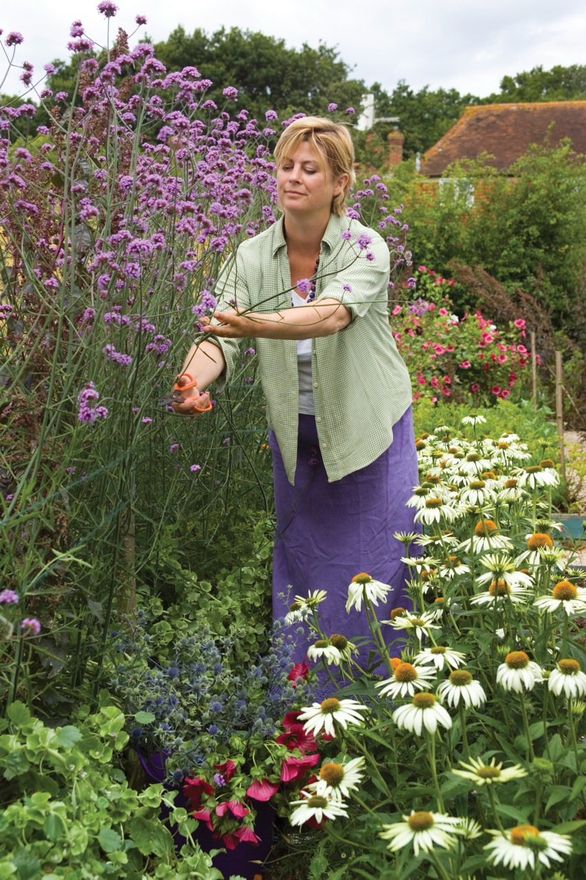 Sarah Raven picking flowers in the cutting garden at Perch Hill