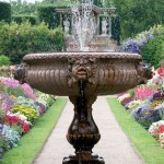 water feature at end of garden path