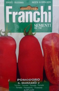 packet of san marzano tomato seeds