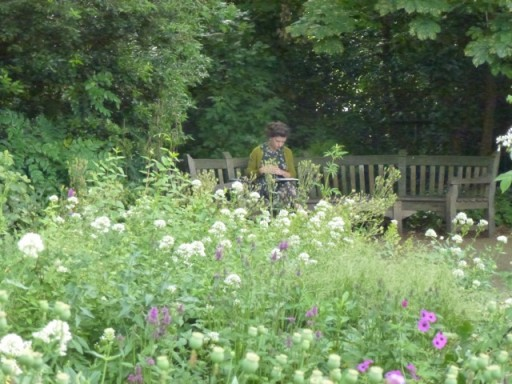 lady sits on curved wooden bench reading book in garden