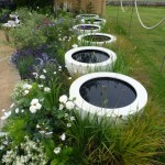 beautiful large pots filled with water
