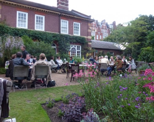 outdoor diners take advantage of some dry weather at the chelsea physic garden