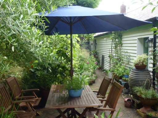 parasol up in garden