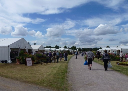 rows of temporary shops at the hyde hall plant fair