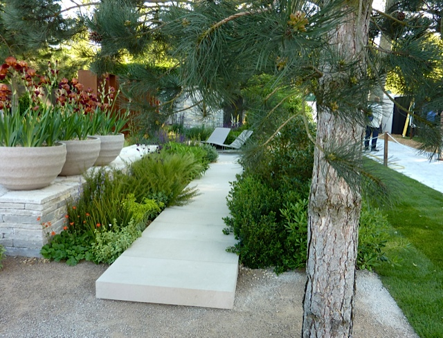 modern angular and expensive limestone path