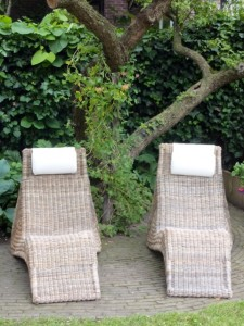 pair of outdoor loungers