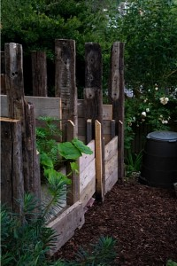 home made compost heaps made from wood
