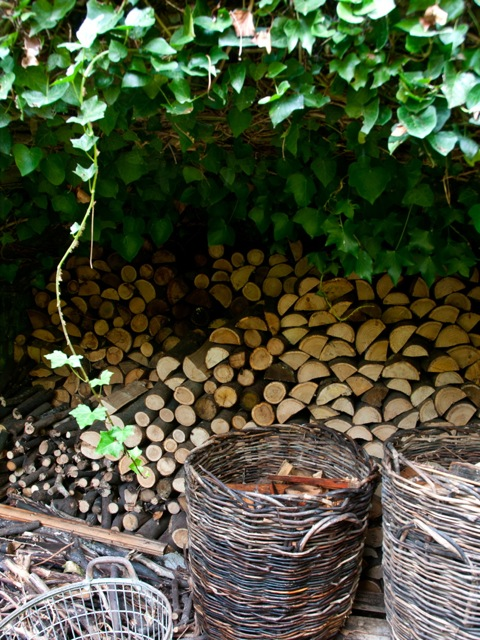 neatly stacked logs in the garden