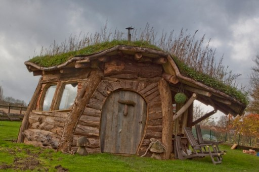 small house made from logs suitable for a hobbit
