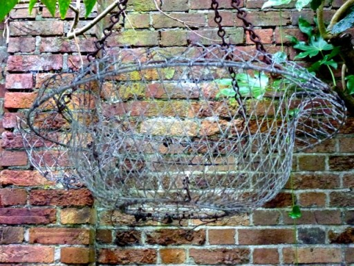 old wire hanging basket