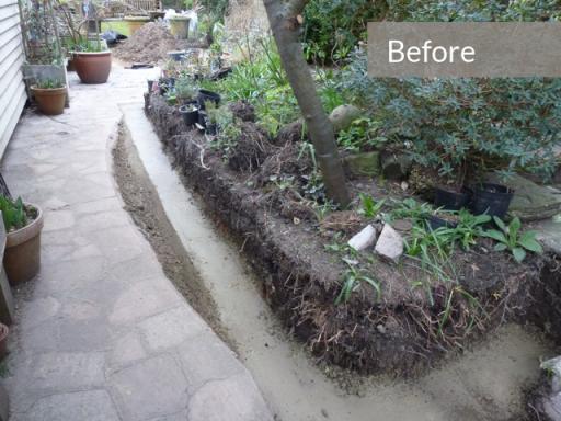 garden border wall footings