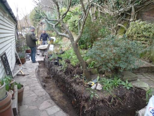 workers dig footing in garden