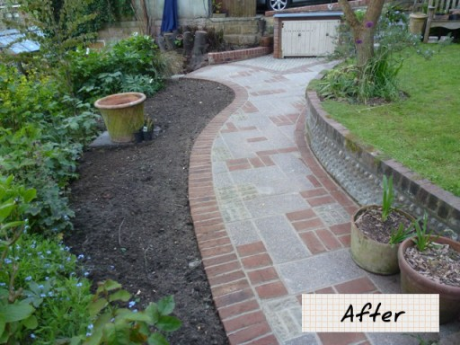garden path after being landscaped