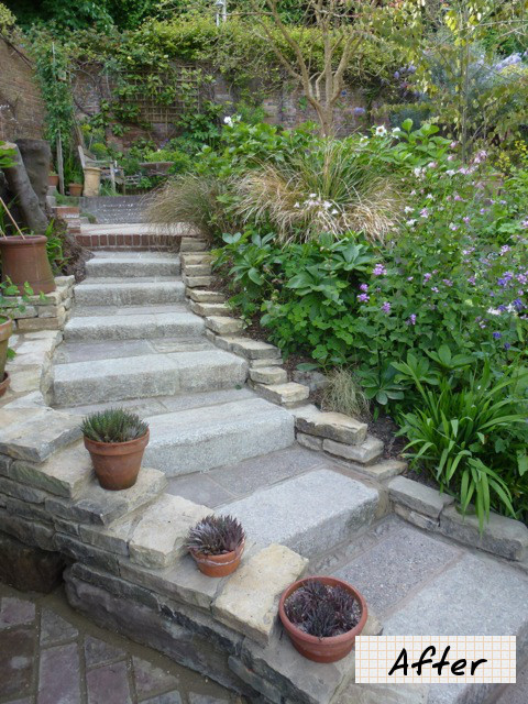 new wide garden steps