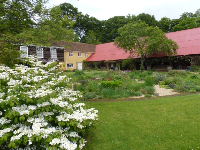 overall view of the garden at the buildings