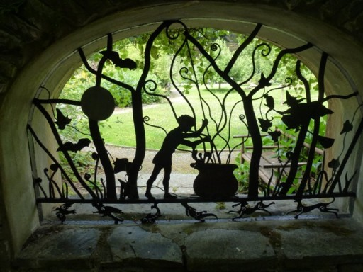 beautiful silhouette created from metal in garden
