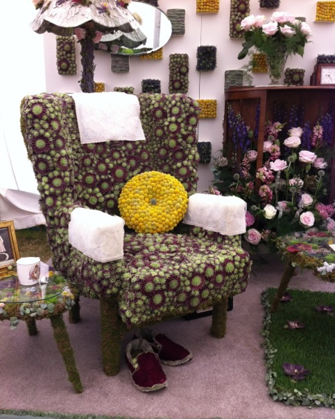 an armchair made entirely from succulents