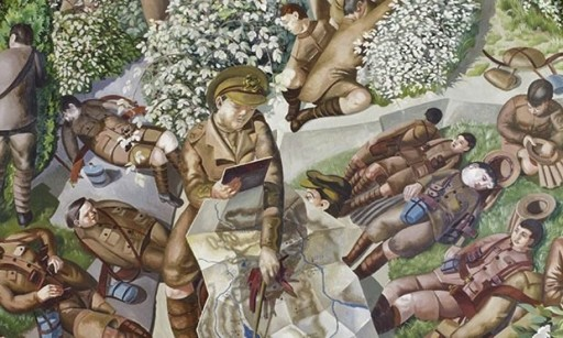 Detail from Map-reading by Stanley Spencer at Sandham Memorial Chapel, Burghclere, Hampshire.