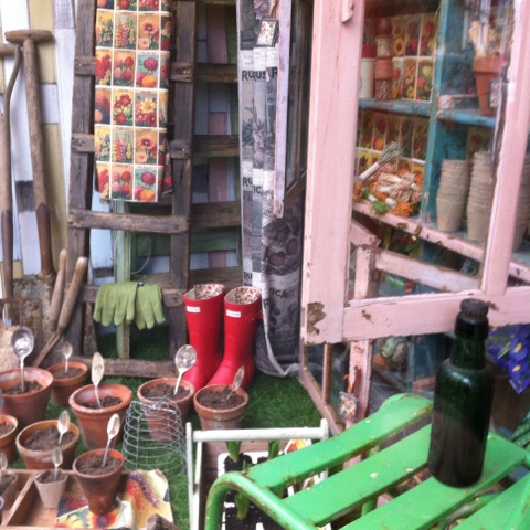 window display of potting shed