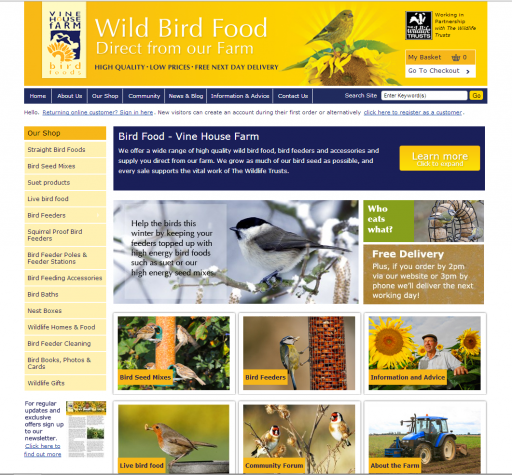 screenshot of Vine House Farm website who specialise in birdseed