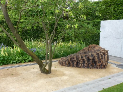 wooden sculpture on the Laurent Perrier Garden at Chelsea 2014