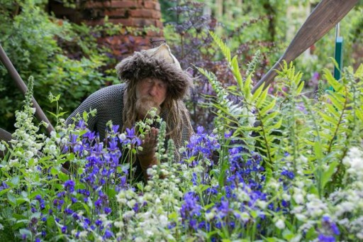 a viking taking a break at the chelsea flower show