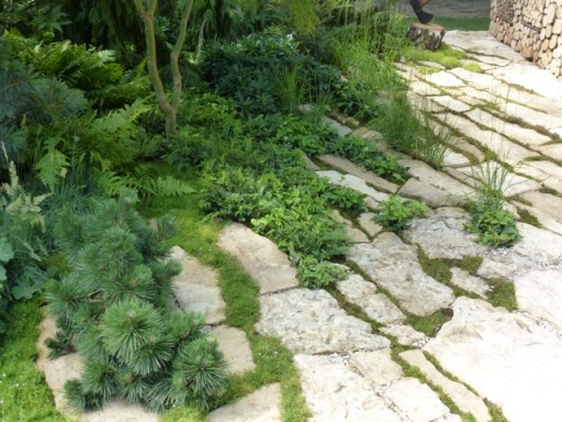 natural looking limestone paving at the Hampton Court Flower Show