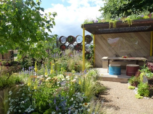 view of recycled garden at Hapton Court Flower Show 2014