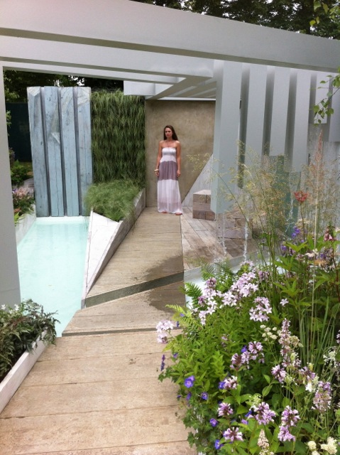 Alexandra Froggatt in her garden at the Hampton Court Flower Show 2014