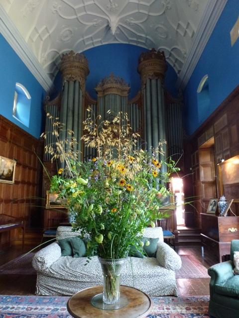 cut flowers in vase at chapel in Glyndebourne