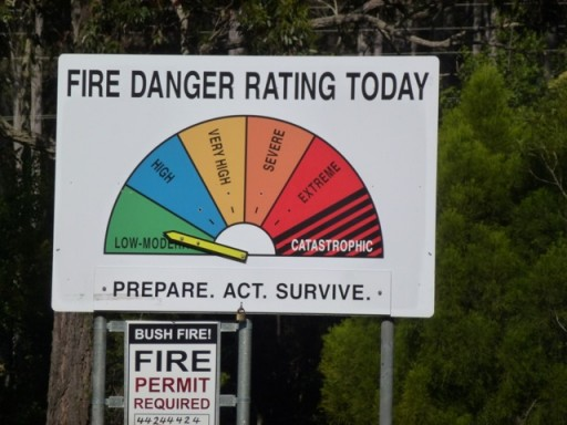 fire danger warning signs in Australia