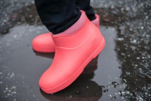 pink plastic ankle boots