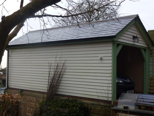 brand new garage in the garden