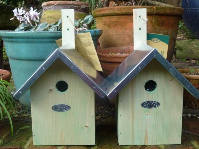 two brand new bird boxes