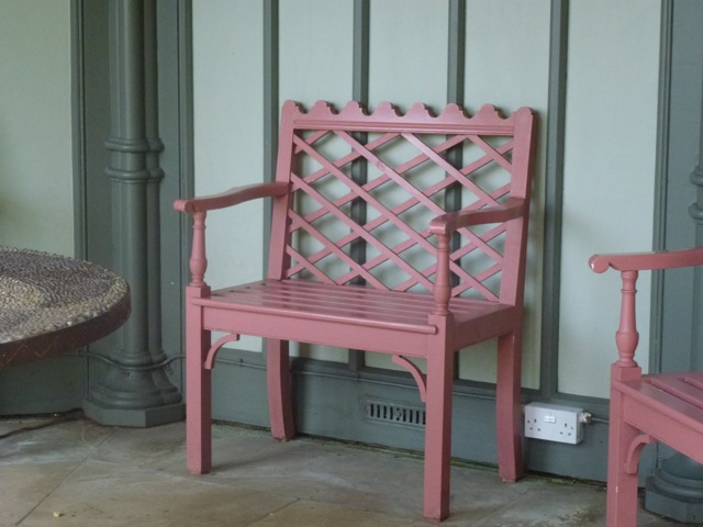 small elegant painted bench