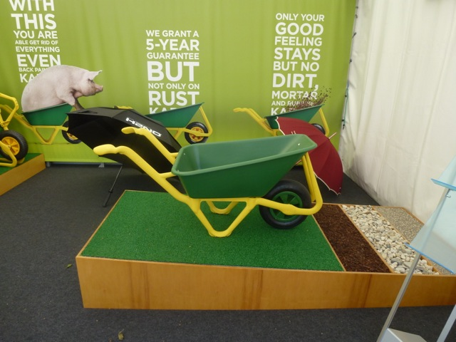 plastic wheelbarrow at the Chelsea Flower Show