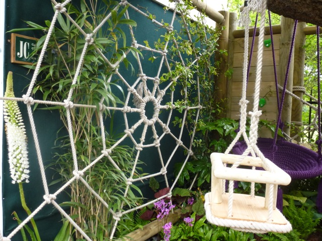 rope and swing made into a spiders web