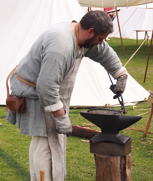 blacksmith at work at the St Ives medieval festival