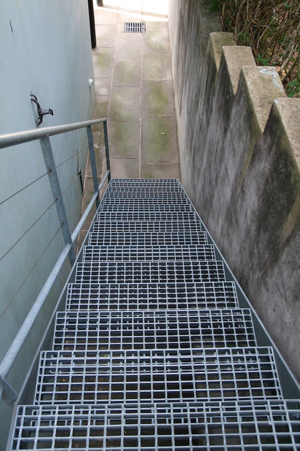 Galvanised steel metal decking steps