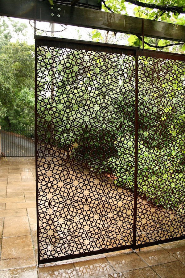 Moroccan-inspired garden screen