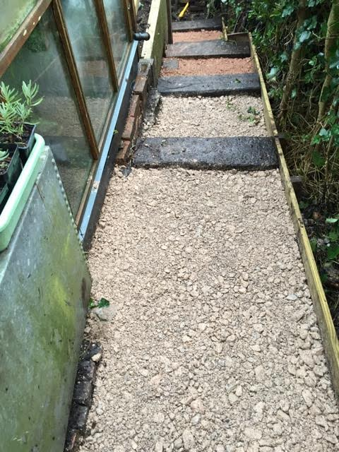 path by greenhouse