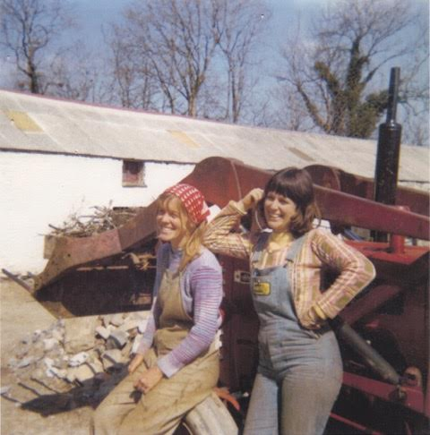 On the farm in Wales with my sister (on the right) who was visiting