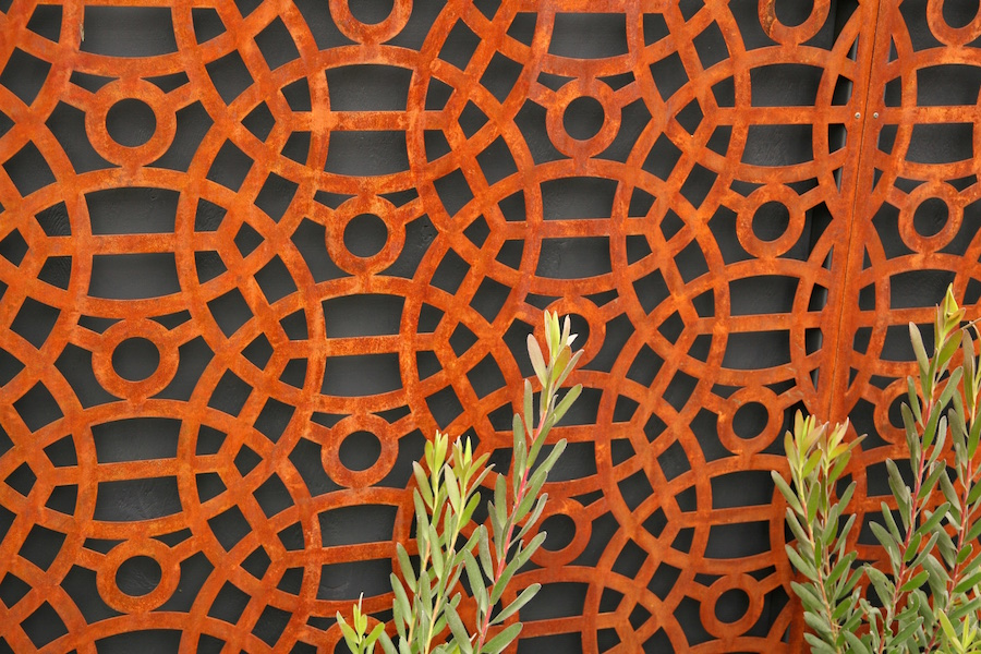cor-ten steel garden screen