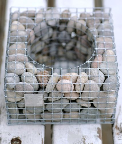 gabion stone filled planter