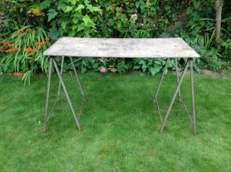 trestle table set up in garden
